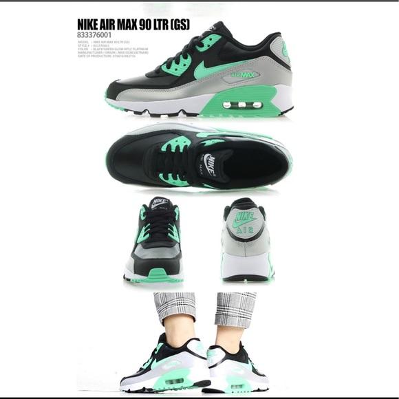Nike Air Max Green Black 90 LTR GS Sneakers